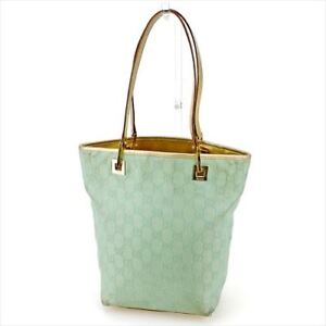 Gucci-Tote-bag-GG-Green-Gold-Woman-Authentic-Used-T5729