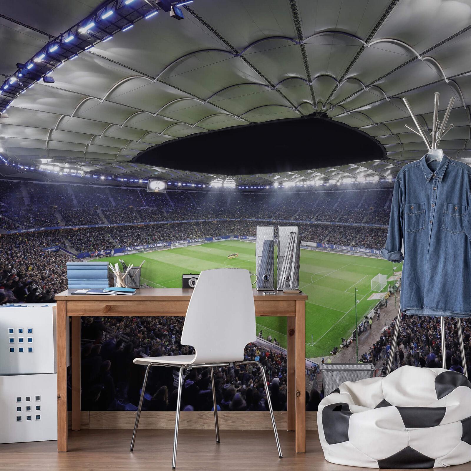 Fototapete Hamburger SV im Stadion bei Nacht  336x260 cm VLIESTAPETE HSV FANSHOP  | Düsseldorf Eröffnung