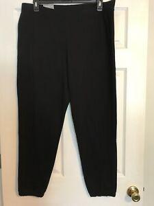 Tek-Gear-DryTek-Xlarge-XL-Mineral-Black-Banded-Bottom-Pants-Mid-Rise-NWT