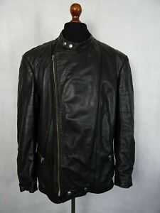 AgréAble Men's Vintage Années 1970 En Cuir Moto Cafe Racer Jacket 48r (xxl)-afficher Le Titre D'origine Facile à Utiliser