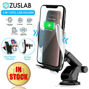Car Phone Holder Mount Wireless Qi Charger Automatic Clamping Adjustable Bracket