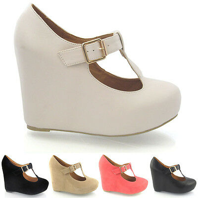 NEW WOMENS CONCEALED PLATFORM WEDGES LADIES MARY JANE COURTS MID HEEL SHOES SIZE