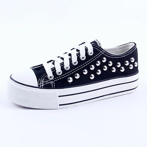 PUNK-Goth-Women-Canvas-Platform-Flat-Lace-Up-Casual-Shoes-Sneaker-Student-Shoes