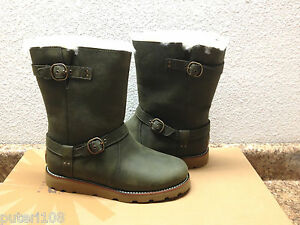 Image is loading UGG-NOIRA-PINENEEDLE-OLIVE-GREEN-LEATHER-BOOTS-US-