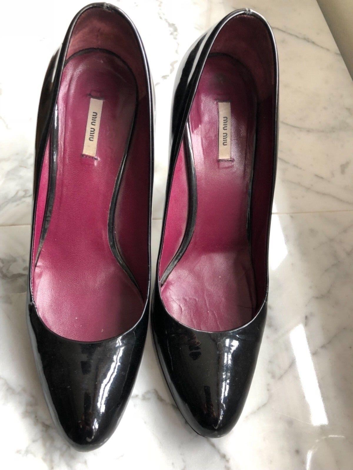 100% Authentic Miu Miu black patent round toe high heels EU 36   UK 3