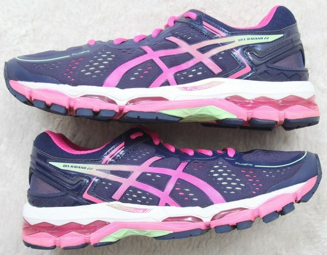 Asics Running Shoes Seven 7 Blue Athletic Sneakers European 38 Blue 7 Pink GelKayano 22 72f9e9