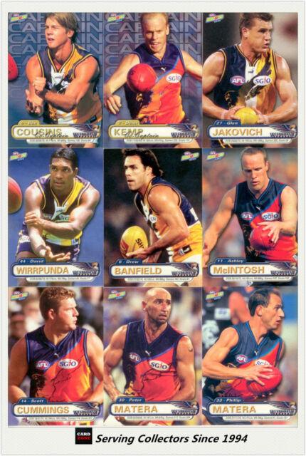 2001 ESP AFL Heroes Trading Card Base Card Team Set West Coast (9)