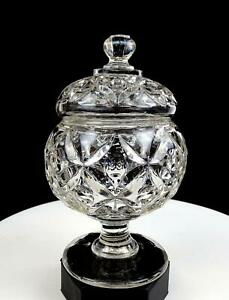 EAPG-PATTERN-GLASS-LEAVES-amp-THUMBPRINT-CLEAR-FLINT-7-3-4-034-CANDY-BOWL-1850-1910