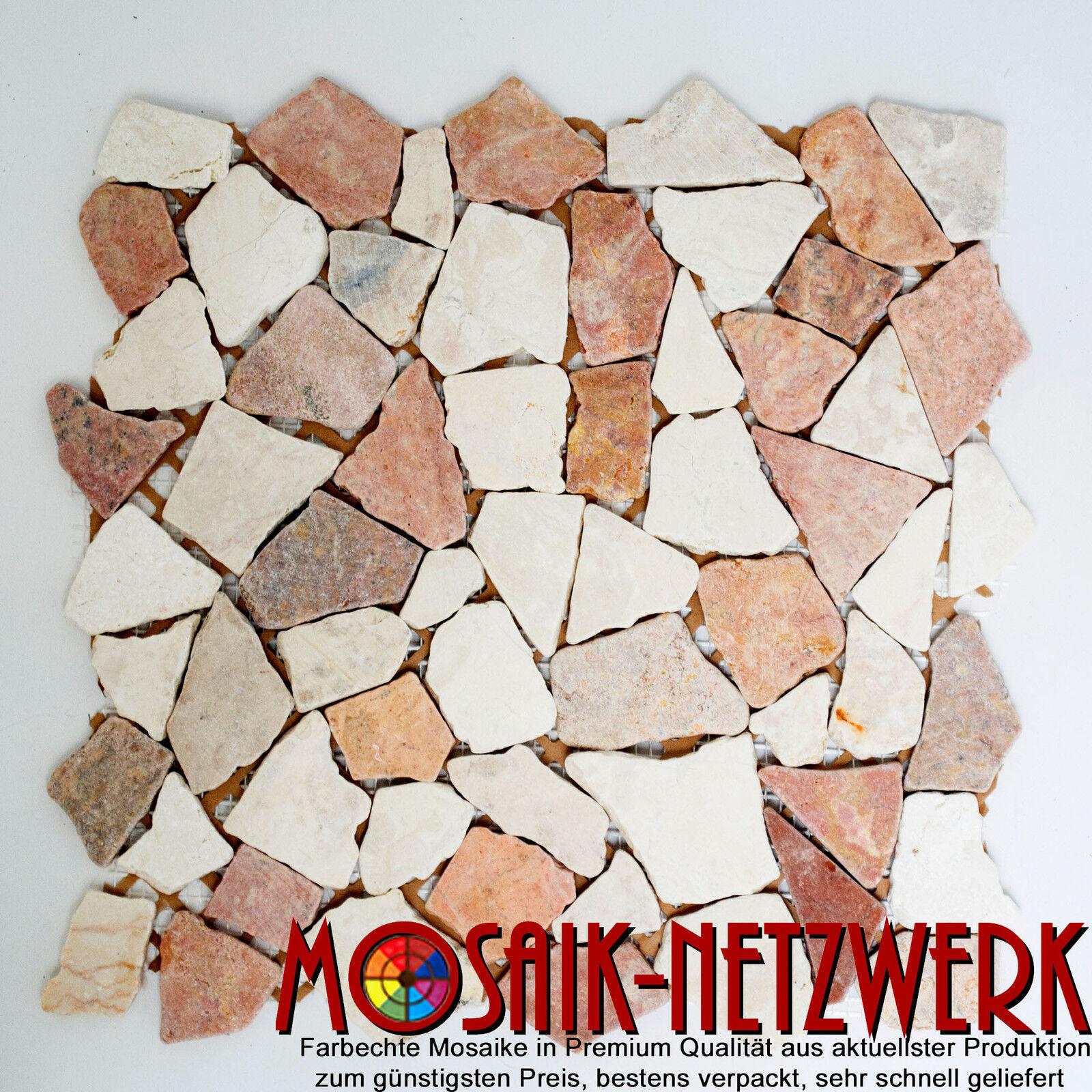 Marmor Bruchmosaik mix rot Verona Botticino Küche Wand Art  44-1002   10Matten
