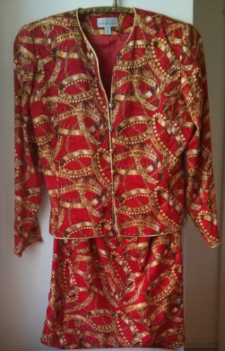 Vintage Woman Adrianna Papell Red Baroque 100% Sil