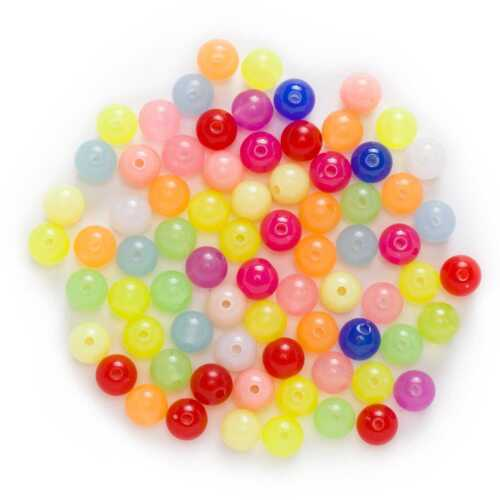 Random Mixed Multicolor Acrylic Round Jewelry Making Spacer Beads 8-14mm