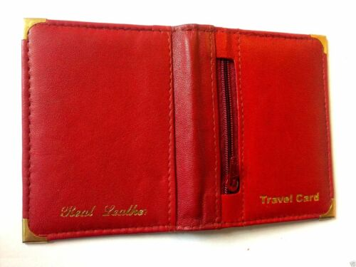 UNISEX BLACK//RED LEATHER OYSTER TRAVEL CARD BUS PASS HOLDER WALLET COVER CASE