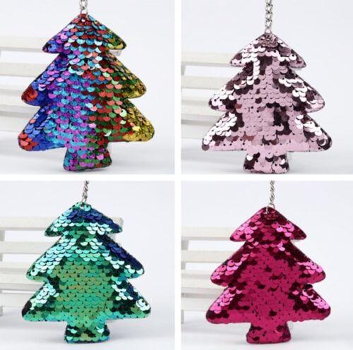 1//4PCS Christmas Tree Sequin Keychain Keyring Key Chain Bag Charm Pendant Lot