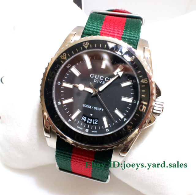 576a9451383 Gucci Dive Black Dial Red and Green Nylon Men s Watch YA136206