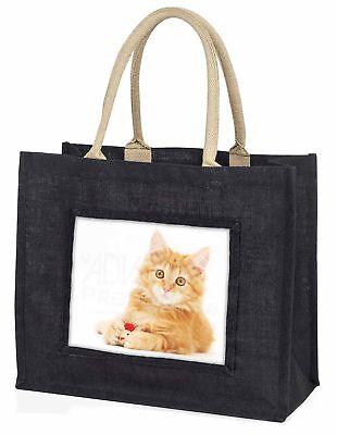 flauschig Ingwer Kätzchen große schwarze Einkaufstasche Weihnachten Geschenkidee