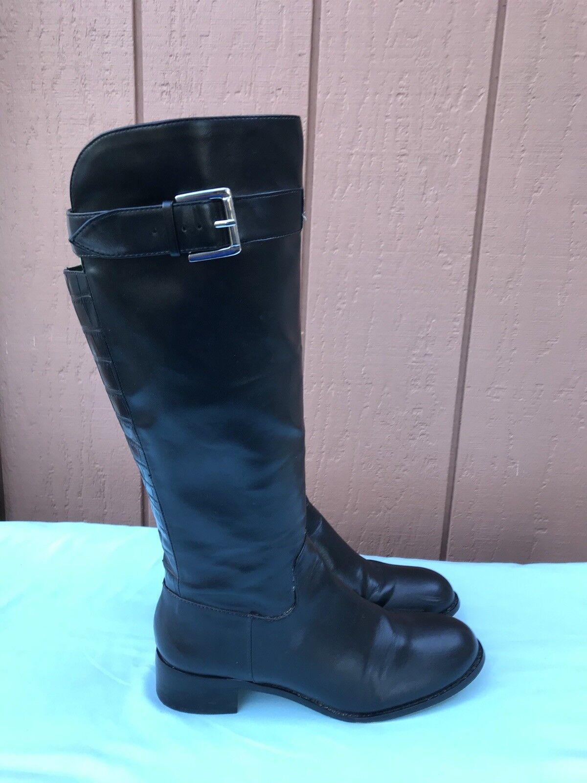 BEBE US 8 cuir noir cavalières hautes Équitation Talon Bas bottes Motard A9