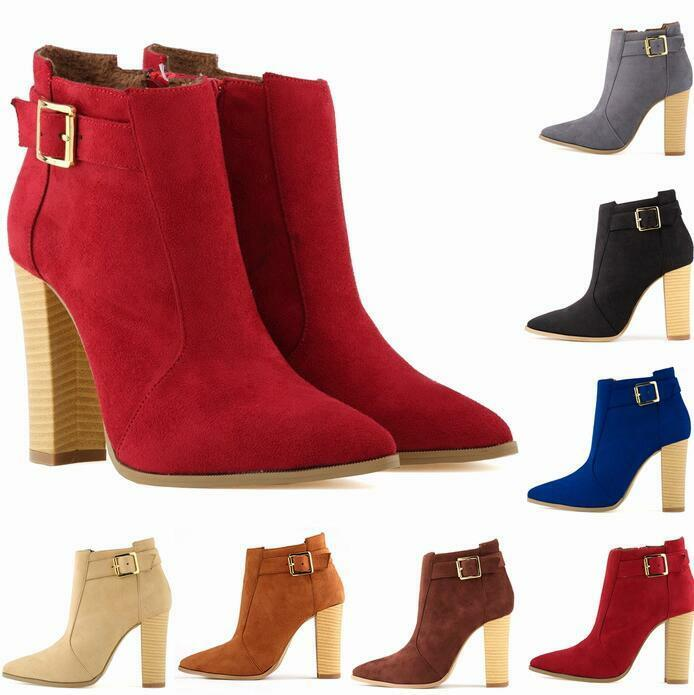 femmes Suede Pointy Toe Combat Mid Calf bottes Chunky Block High Heel chaussures Uk Sz