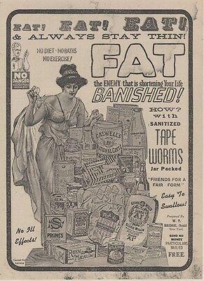 """Verstandig """"fat"""" Affiche D'intérieur Originale Entoilée typo-litho vers 1900  30x40cm Hoge Veerkracht"""