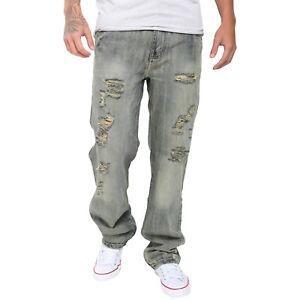 Men-039-s-strappato-cotone-Biker-Jeans-Pantaloni-Distrutti-Sfilacciato-Pantaloni-Slim-Fit-Denim