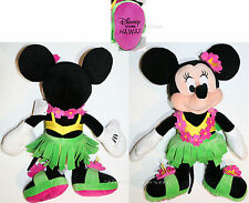"2014 Disney Store HAWAII 17"" HULA Minnie Mouse Plush Toy Doll Grass Skirt & Lei"