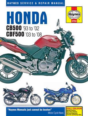3753 Haynes Honda Cb500 (1993 - 2002) & Cbf500 (2003 - 2008) Workshop Manual Een Compleet Scala Aan Specificaties