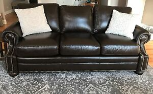 Details about leather sofa from Carson Pirie Scott.. custom nailhead trim  real leather sofa.