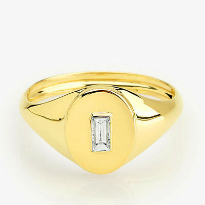 Creativity Small White Topaz Signet Ring Yellow RoseGold Wedding Engagement Gift