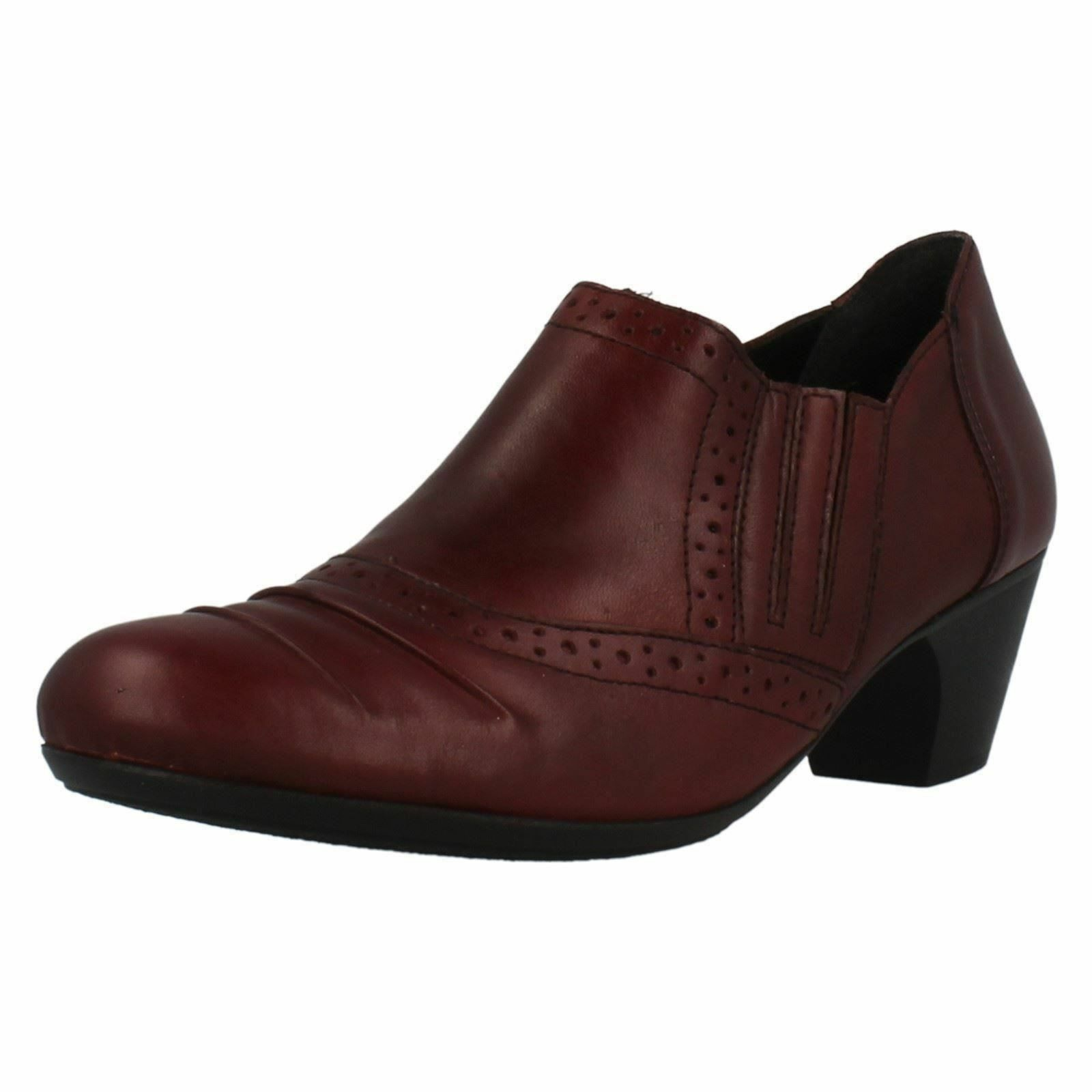 Ladies Rieker 50560-35 Red Leather Smart Slip On Trouser shoes