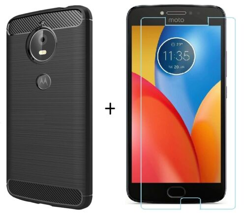 motorola e4 plus case. for moto e4 plus back cover rugged brushed hybrid soft case \u0026 tempered glass motorola r