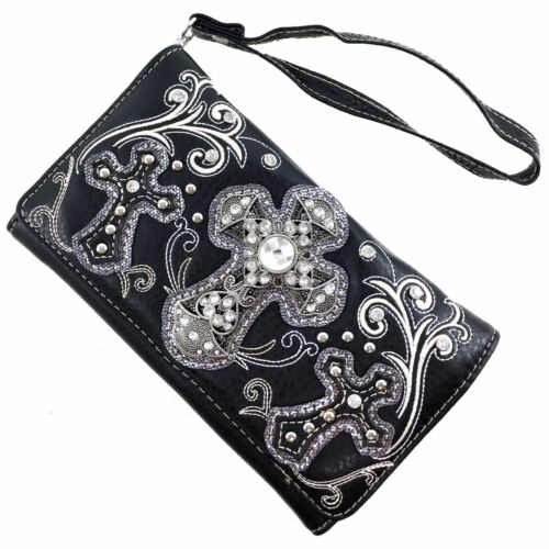 Justin West Floral Bling Rhinestone Cross Western Concealed Carry Handbag Purse