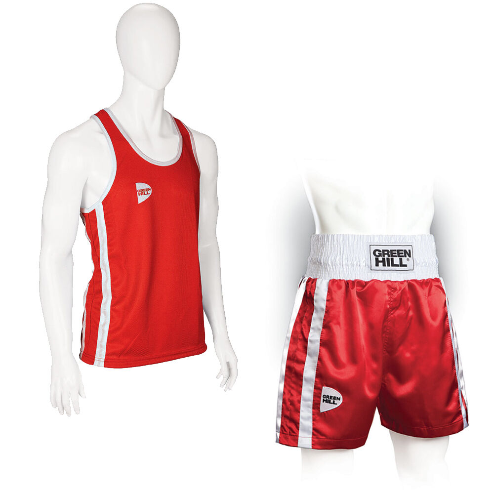 COMPLETE FROM BOXING TANK TOP + SHORTS BOXING RED GREEN HILL TANK TOP