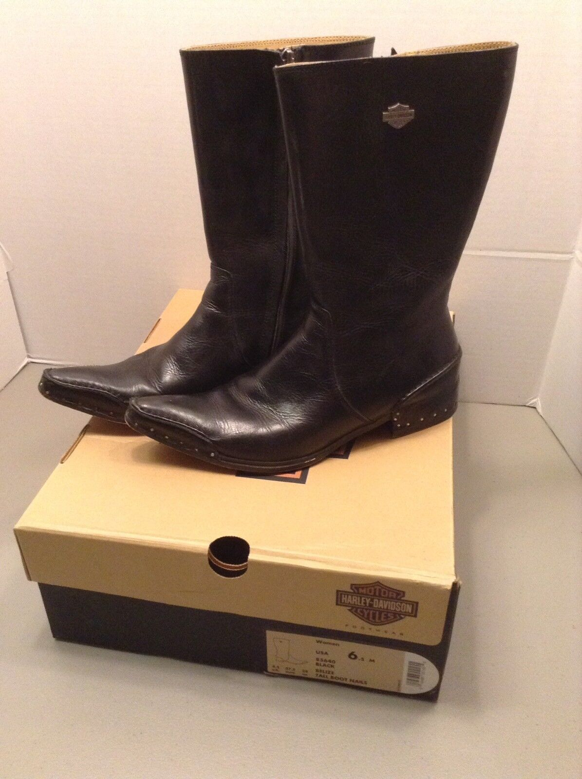 Women's Harley Davidson Black Leather Tall Boots Belize Nails 85640 Size 6.5 M