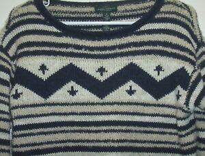 Lauren-Jeans-Co-Ralph-Lauren-Womens-M-Navy-Cream-Sweater-Southwest-Aztec