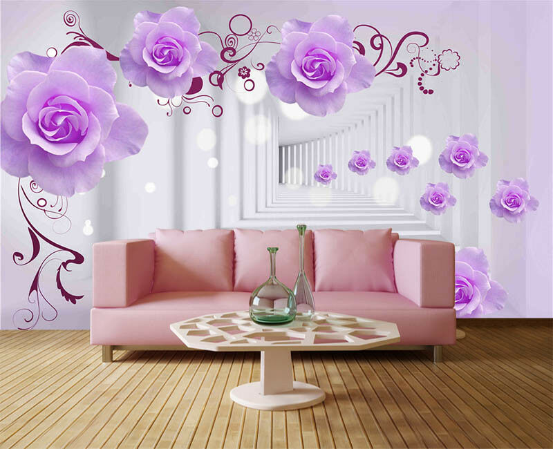 lila Neat Plum 3D Full Wall Mural Photo Wallpaper Printing Home Kids Decor
