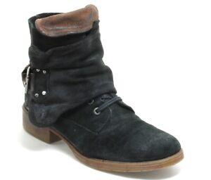Vintage Chaussures Plates à Lacets Homme Cuir Fermeture Éclair Boucle 41,5 - 42