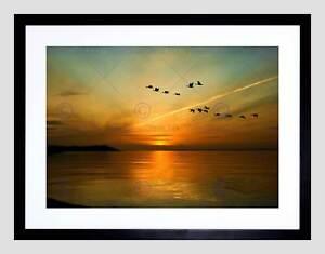 GEESE-BIRD-FORMATION-SUNSET-LAKE-BLACK-FRAME-FRAMED-ART-PRINT-PICTURE-B12X9084
