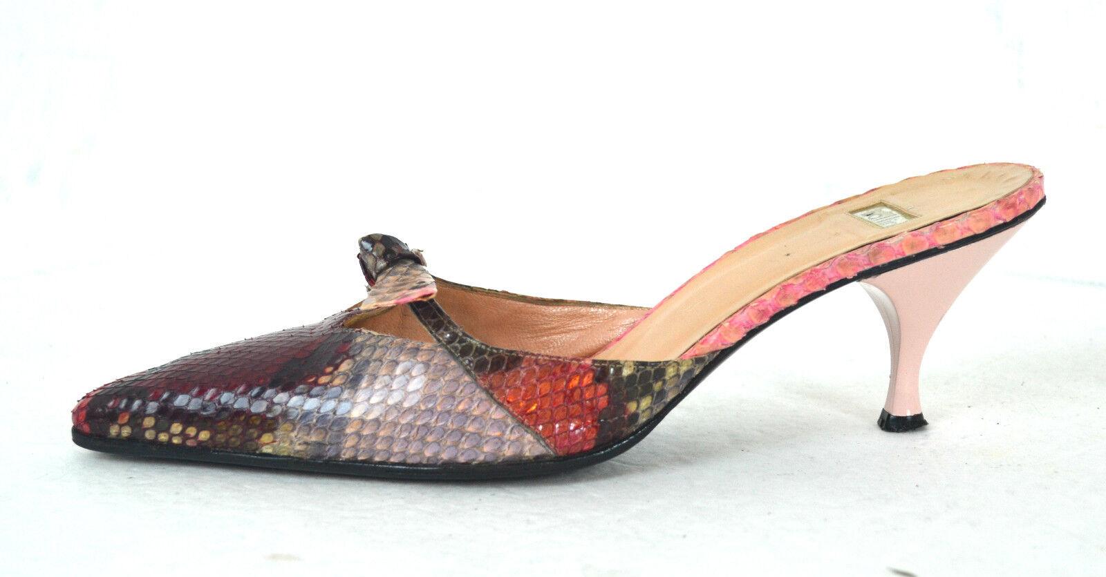ELEGANT BALLIN ROT GENUINE SNAKESKIN LEATHER Schuhe SIZE 7.5 / 38 MADE IN ITALY