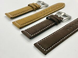 e66ca16c7d1 02 Straps (2) Bands 22mm Suede Leather Watch Strap Brown   Tan Fast ...