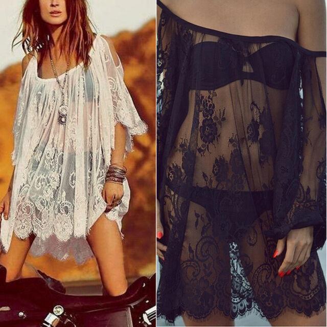 Womens Strap Backless Beach Lace Floral Crochet Mini Dress Loose Kaftan Tops