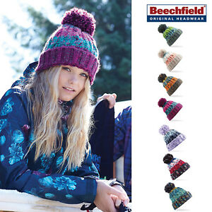 9a6594dcb Details about Beechfield Corkscrew Pom Pom Beanie - Luxurious thermal  winter hat funky colours