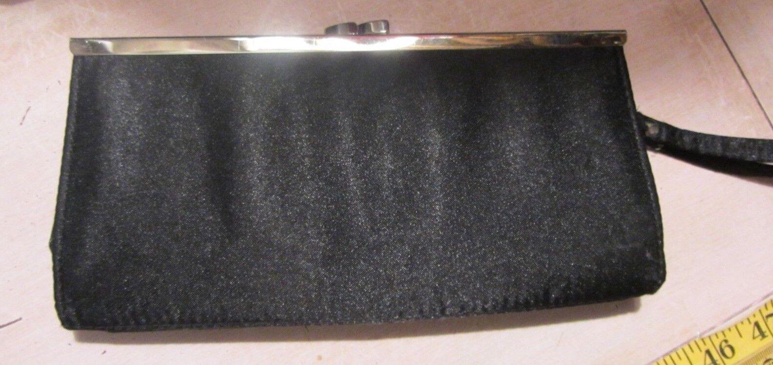 New Look Ladies Black Hard Satin Style Clutch Purse
