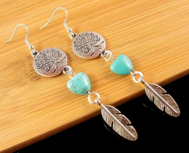 Tree of Life Turquoise Gemstone Heart Dangle Earrings with Metal Feathers #1400