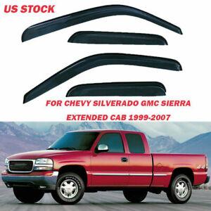 FOR 99-06 CHEVY//GMC EXTENDED SMOKE WINDOW VISOR SHADE//VENT WIND//RAIN DEFLECTOR