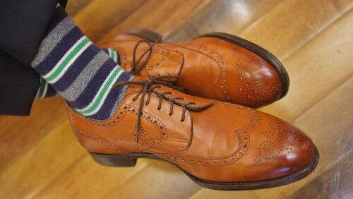 Handmade Uomo tan color wing brogue tip brogue wing formal dress shoes, Uomo tan color shoes 11ae6f