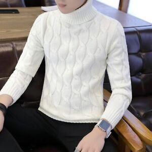 Loldeal turtleneck white men Sweater Pullover Slim Warm Solid High Lapel |  eBay
