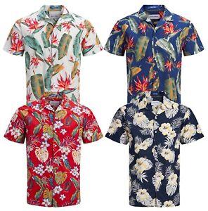 promo code ce117 e7087 Details zu Jack & jones Cubano Kragen Kurz Hemd Blumenmuster Hawaii Strand  Party