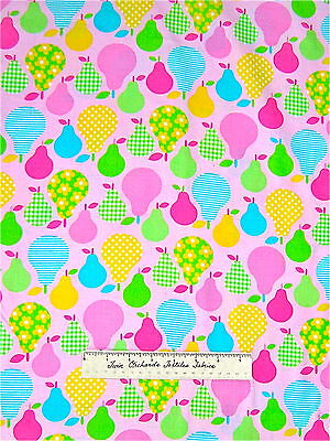 Timeless Treasures Fabric - Floral Plaid Polka Dot Pears on Pink C8884 YARDS
