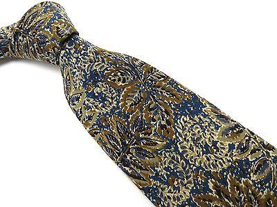 CHRISTIAN DIOR MONSIEUR Tie Brown Leaf Teal Black Gray Grey Silk Necktie