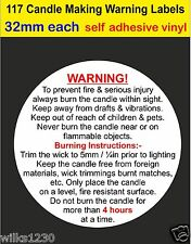 117 small Candle Making Safety Warning Labels self adhesive vinyl Stickers decal
