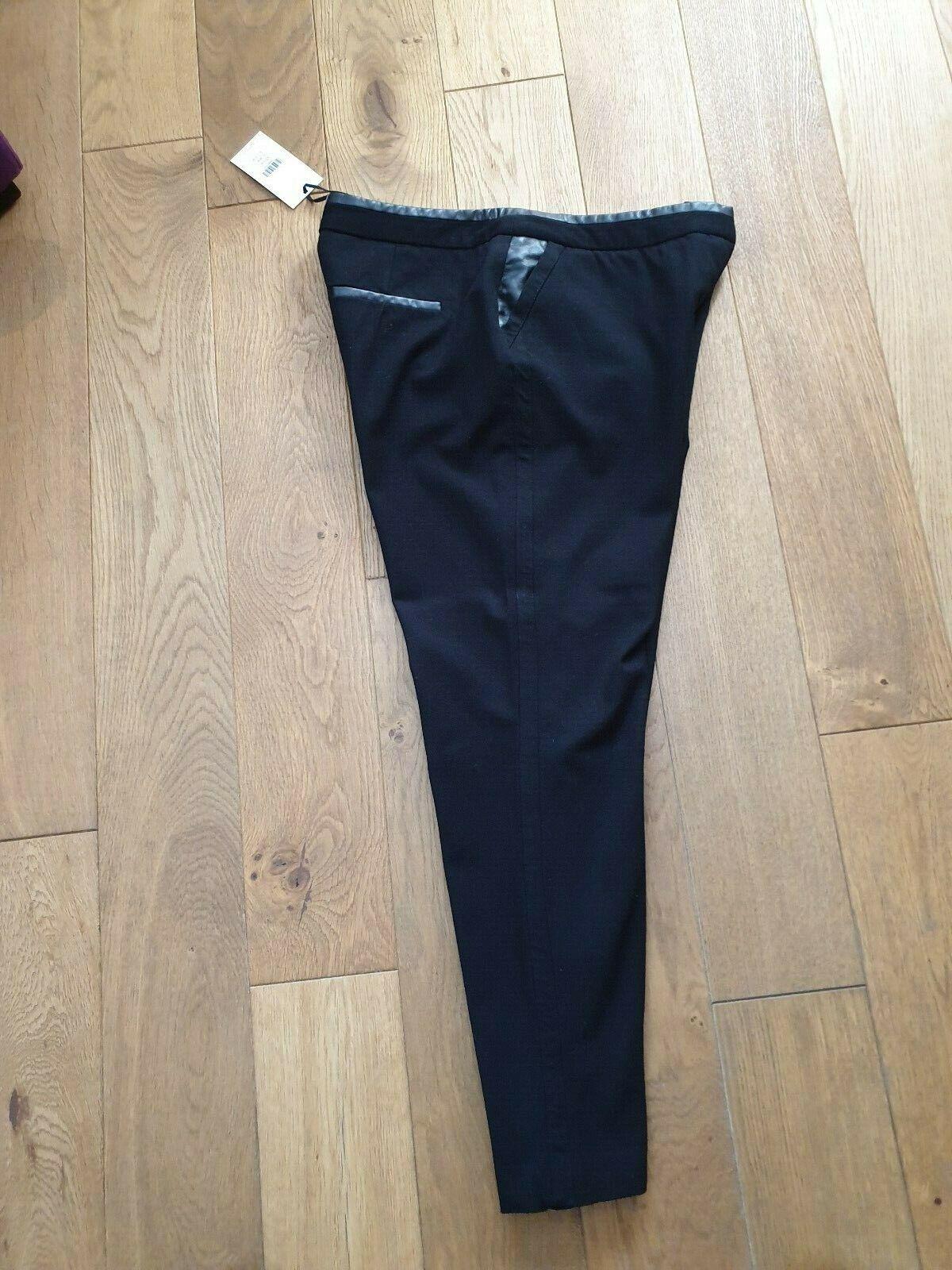 Whistles donna Nero Pantaloni con finiture in pelle pelle pelle misura uk12 0eeddc